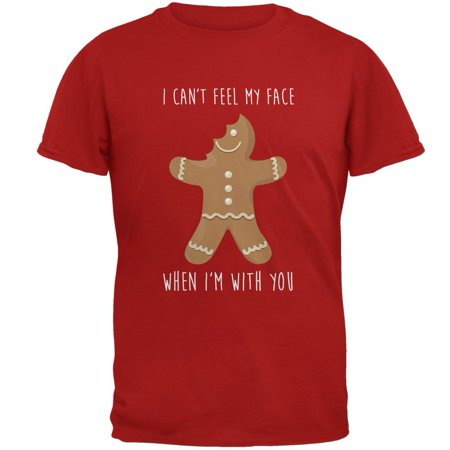 Christmas Gingerbread Man Can't Feel My Face Mens Soft T Shirt (Gingerbread Face)