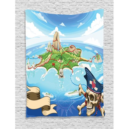 Island Map Decor Tapestry, Aerial Fantasy Pirate Cove Island with Crossbones and Captain Skull Art Decor, Wall Hanging for Bedroom Living Room Dorm Decor, 60W X 80L Inches, Multi, by Ambesonne