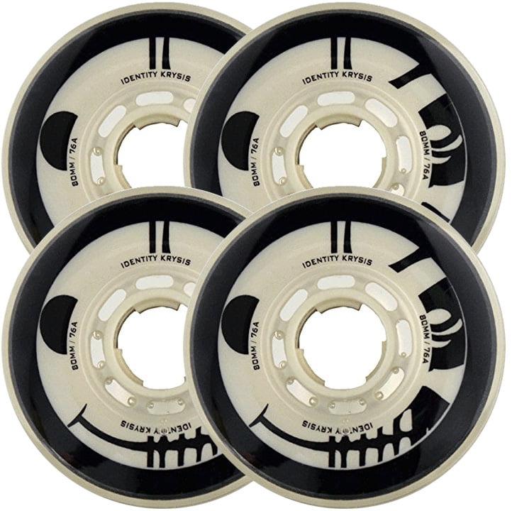 RINK RAT Wheels 80mm 76a IDENTITY KRYSIS 4-Pack White Black Inline Indoor Hockey by