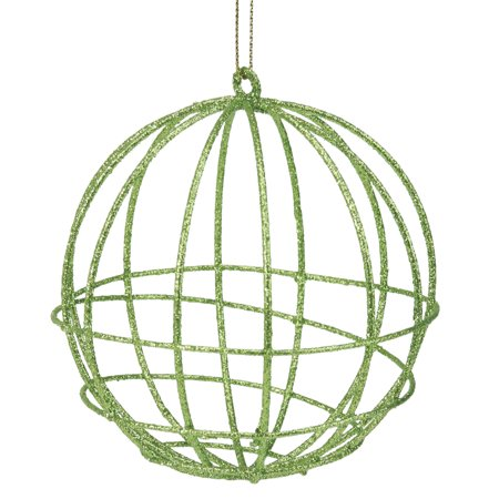 Green Glittered Geometric Wired Christmas Ball Ornament 4