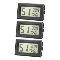 Black Digital Temperature Humidity Meters Gauge Indoor Thermometer Hygrometer LCD Display Celsius(°C) 3pcs