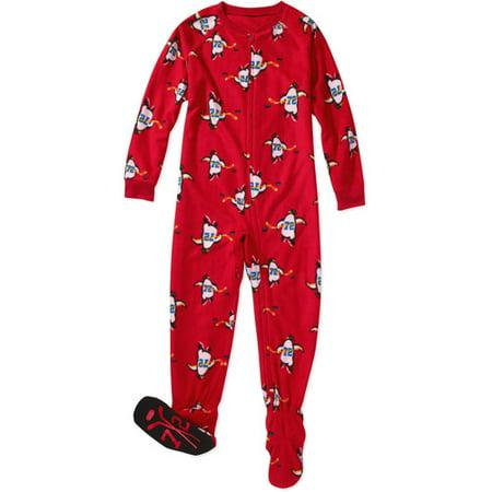 Faded Glory - Boys' Footed Pajamas - Walmart.com