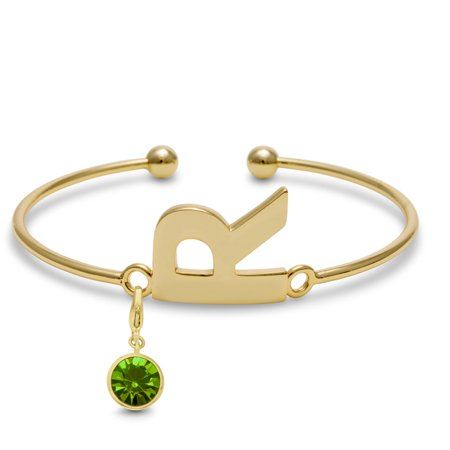 Charm Baby Bangle (Initial Bangle Bracelet With Peridot Crystal Birthstone, For August Babies)