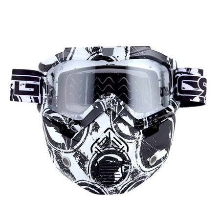 Motorcycle Goggles Mask, Detachable for Motocross Helmet Goggles use, Tactical Airsoft Goggles Mask: Eagle White with Clear Lens ()