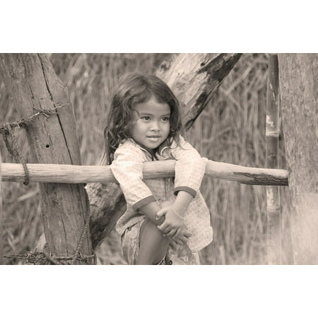 LAMINATED POSTER Child Kambotscha Girl Black And White Portrait Poster Print 24 x 36