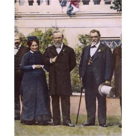 Rutherford B Hayes N(1822-1893) President Rutherford B Hayes (1822-1893) And Mrs Hayes With Senator Leland Stanford (Right) In The Garden Of The SenatorS Home At Menlo Park California Oil Over (Leland Porcelain)