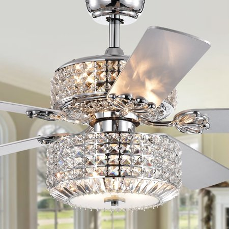Walter Dual Lamp Chrome 52-inch Lighted Ceiling Fan w Crystal Shades (includes Remote and Light Kit)