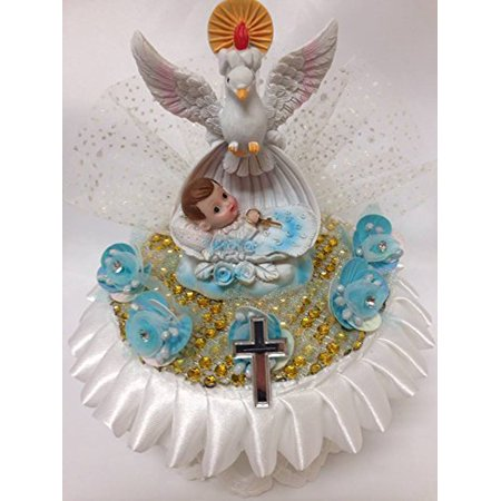 Christening Baby Boy with White Dove Centerpiece Cake Topper Party Decoration](Baby Christening Decorations)