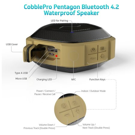 Cobble Pro Pentagon Portable NFC Wireless Speaker Bluetooth with 7W RMS Output - Built-in MIC 2000mah PowerBank for iPhone XS Max XR 11 / 11 Pro / 11 Pro Max iPad Mini 5 iPad Air 2019 - Gray - image 3 de 10