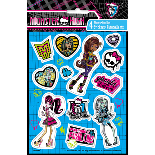 Monster High Sticker Sheets, 4ct