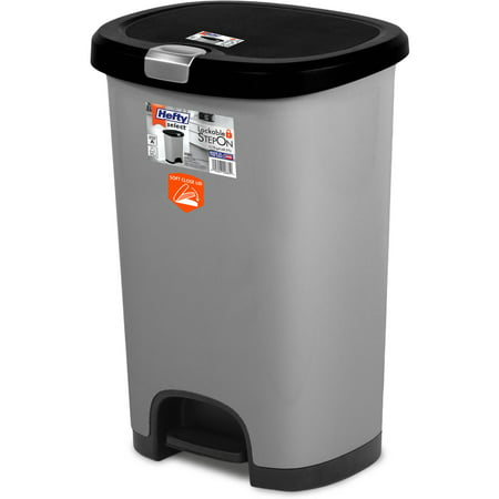 HEFTY 12.8G Select Step On with Soft Close Lid, Multiple Colors (Trash Can With Step Lid Plastic)