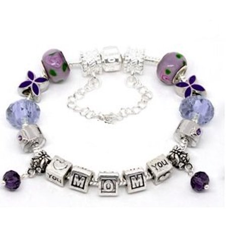 Silver Polished Purple I Love You Mom Mothers Day European Style Bracelet Premade With Charm Beads - Mother's Day Charms