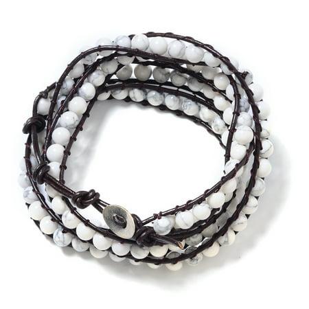 "Leather Round Beads White Howlite Wrap Bracelet for Women 7"""