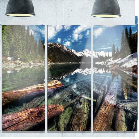 DESIGN ART Designart 'Sunken Logs n Mountain Lake' Extra Large Landscape Art Metal Wall Art (Mountain Metal Arts)