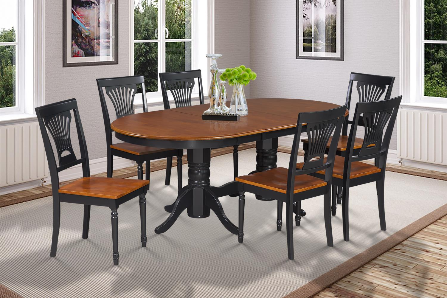 7 Piece Dining Room Set Table With A Butterfly Leaf And 6 Dining Chairs  Finish