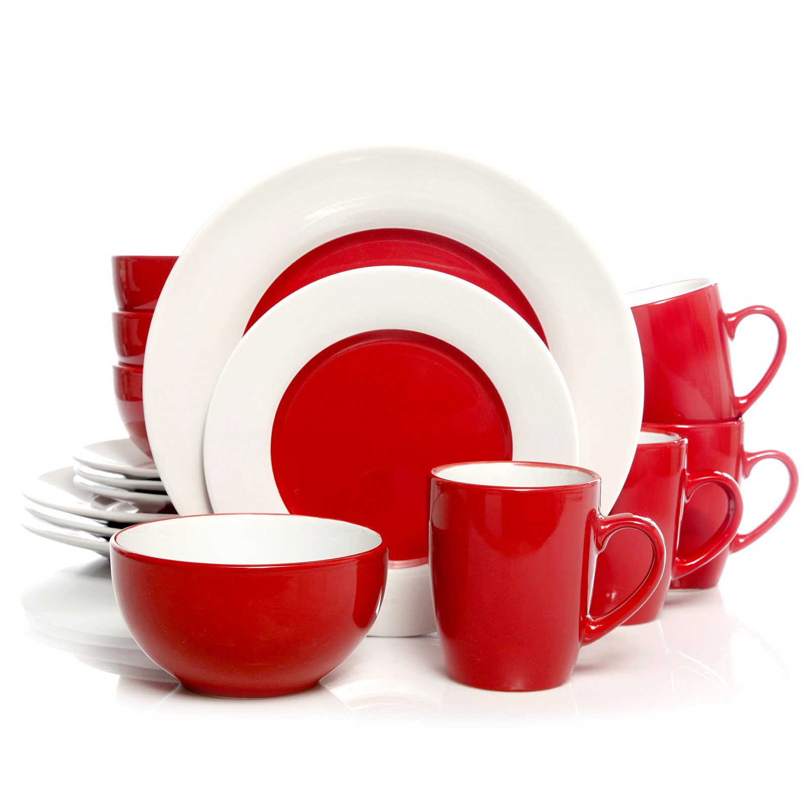 Gibson Home Style Deluxe 16-Piece Dinnerware Set Red  sc 1 st  Walmart : home dinnerware set - pezcame.com