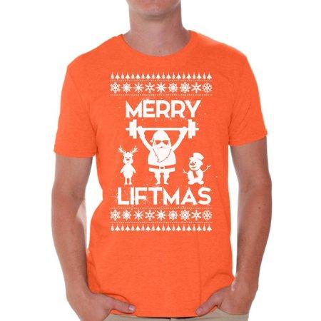 Awkward Styles Merry Liftmas Shirt Christmas Tshirts for Men Funny Santa Shirt Gym Workout T Shirt Christmas Holiday Top Merry Liftmas Santa Shirts Ugly Christmas Party T-shirt Men's Holiday Tee ()