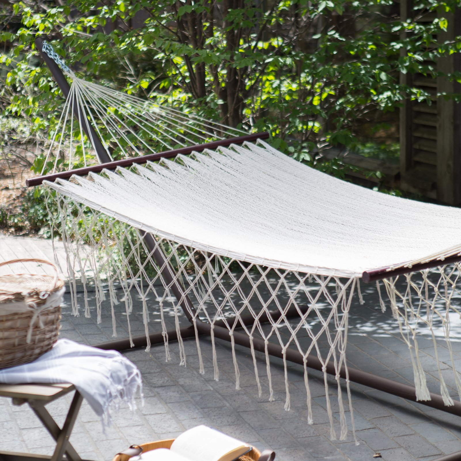 Coral Coast XXL Hand Woven Mayan Solid Thick String Double Hammock with Fringe and Spreader Bar