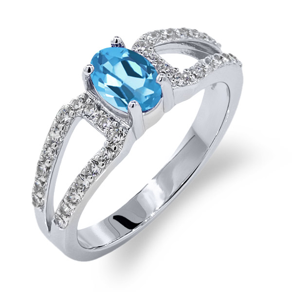 1.28 Ct Oval Swiss Blue Topaz 18K White Gold Ring