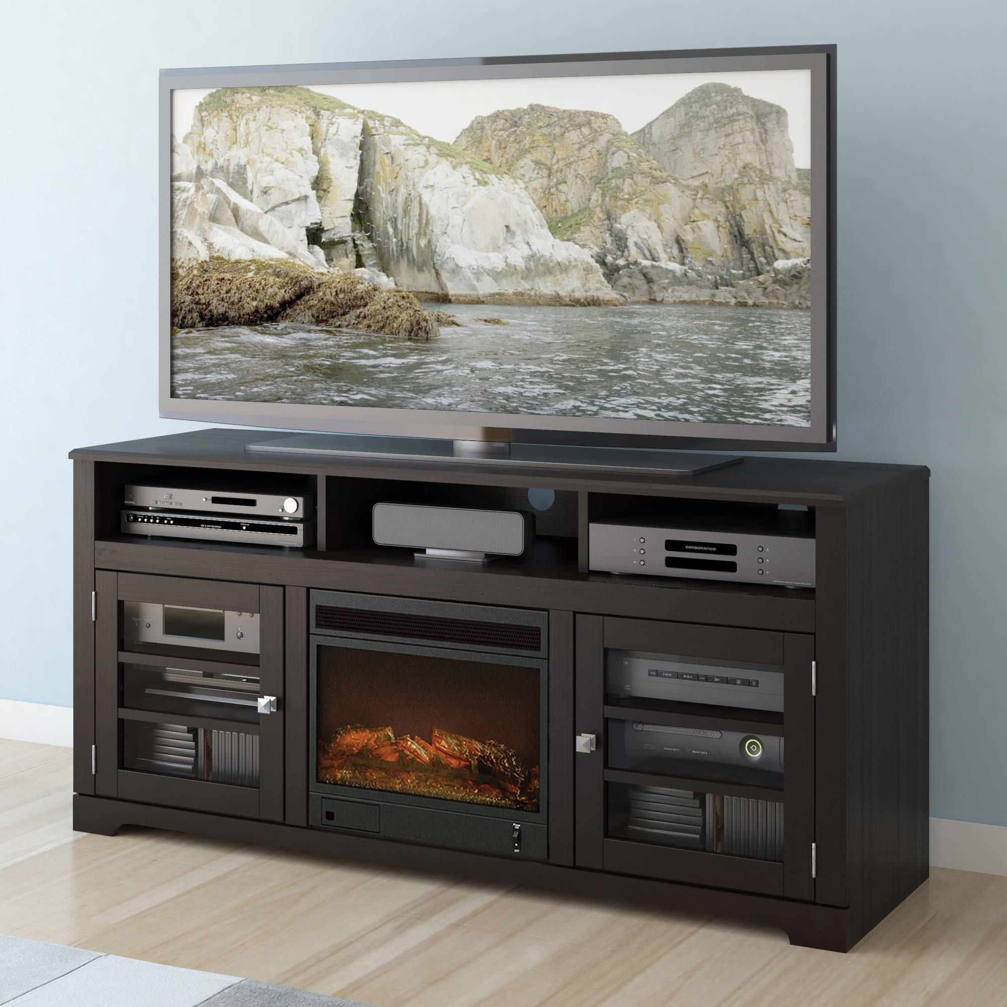 CorLiving West Lake Fireplace Bench for TVs up to 68""
