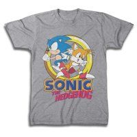 FREEZE Sonic The Hedgehog and Tails Mens T-Shirt (X-Large, Heather Grey)