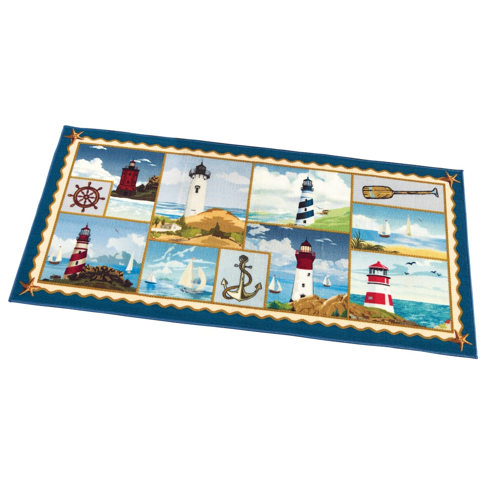 "Coastal Nautical Icon 60 Inch Long Accent Rug with Skid-Resistant Backing, 60"" X... by Collections Etc"