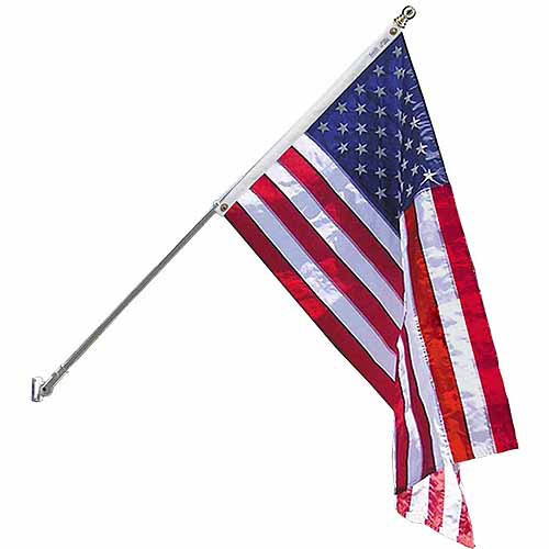 Estate Flag Set with 6' 2-Section 360-Degree White Spinning Pole and American Flag, 3' x 5', Nylon SolarGuard Nyl-Glo, Model# 238