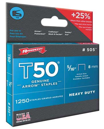 "Arrow 3 8"" x 5 16"" T50 Heavy Duty Flat Crown Staples, 1250 pk., 50524 by Arrow"