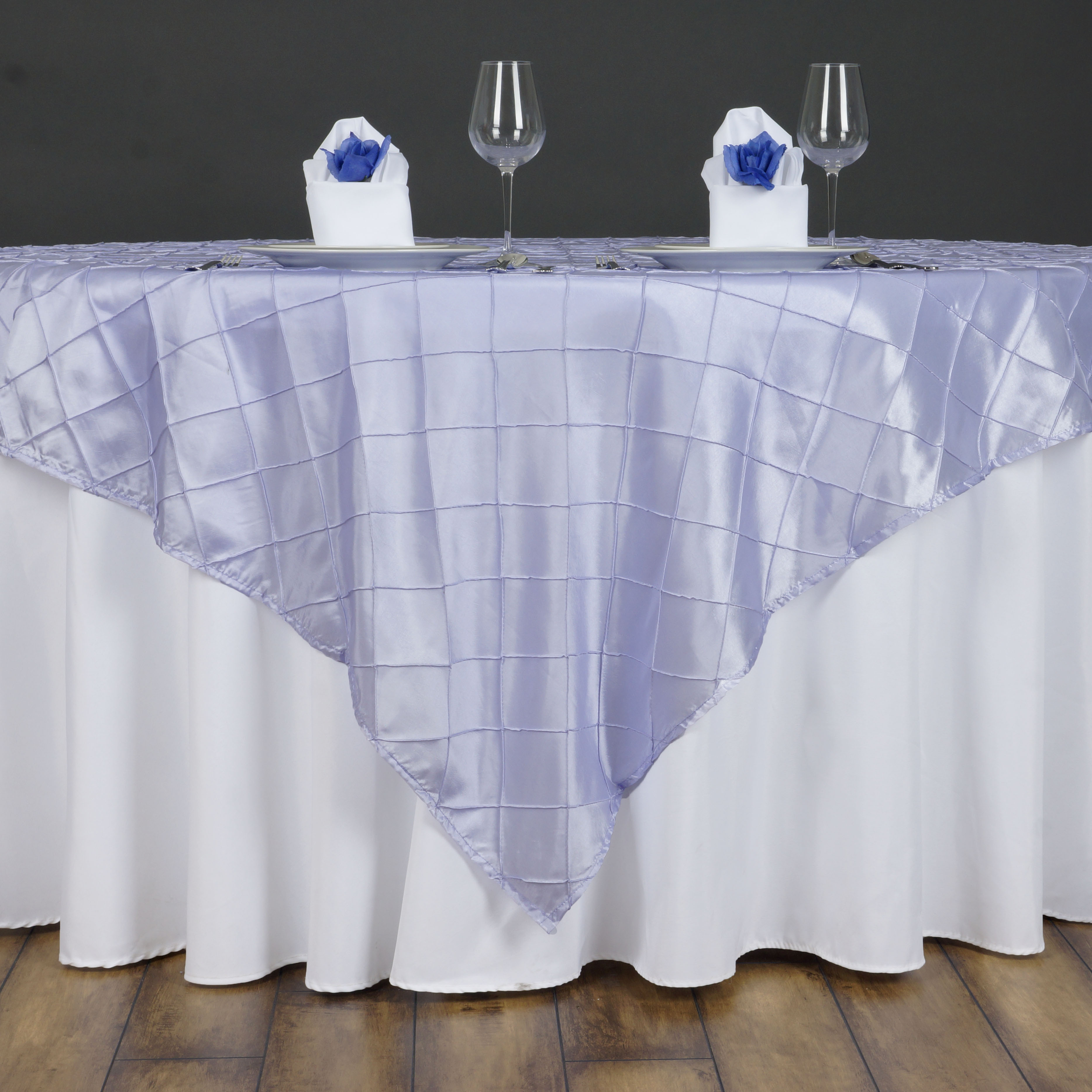 """BalsaCircle 85"""" x 85"""" Square Pintuck Table Overlays - Wedding Party Reception Catering Linens Dinner Banquet Event Decorations"""
