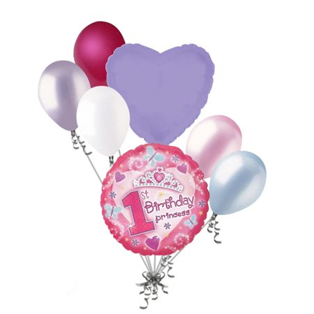 7 pc Happy 1st Birthday Princess Crown Balloon Bouquet Party Decoration First (Princess 1st Birthday Party)