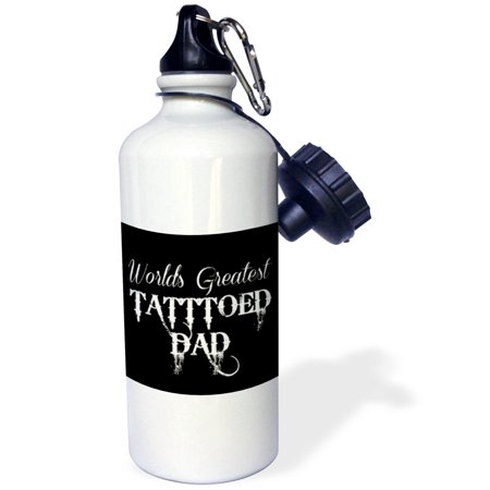 3dRose worlds greatest tattooed dad white letters on black background, Sports Water Bottle, 21oz (Camping Tattoos)