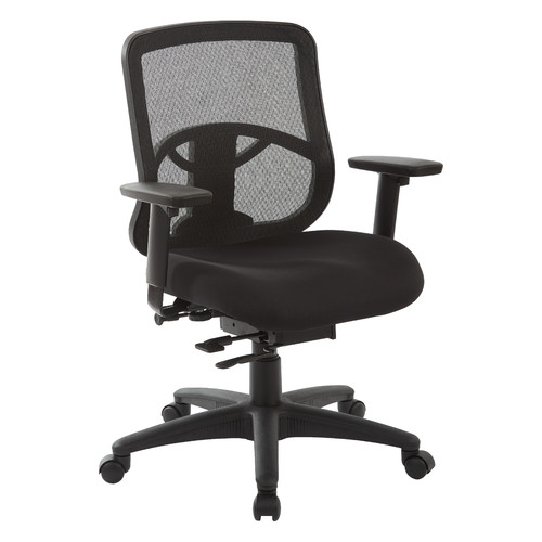 Office Star ProGrid Mesh Back Task Chair with Padded Fabric Seat, Adjustable Arms, Sliding Arm Pads, Seat Slider, Ratchet Back and Pneumatic Control