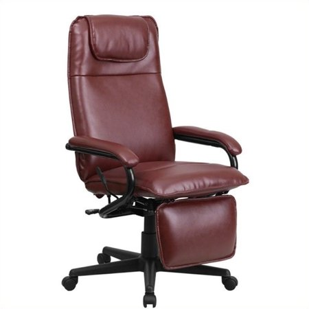 Scranton & Co High Back Leather Reclining Office Chair in - Burgundy Office Chairs