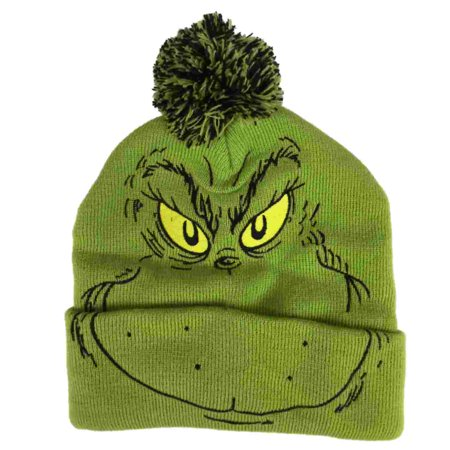 The Grinch - Dr Seuss Mens Grinch That Stole Christmas Holiday Beanie  Stocking Cap Hat - Walmart.com 6f175618370