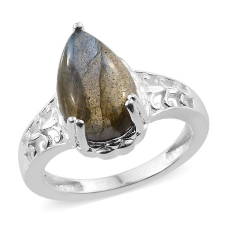Solitaire Ring 925 Sterling Silver Pear Labradorite for