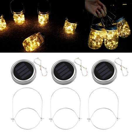 EEEKit Solar Mason Jar Lid Lights, 3 Pack 10 Led String Fairy Star Firefly Jar Lids Lights,3 Hangers Included(Jars Not Included), Best for Mason Jar Decor,Patio Garden Decor Solar Laterns Table