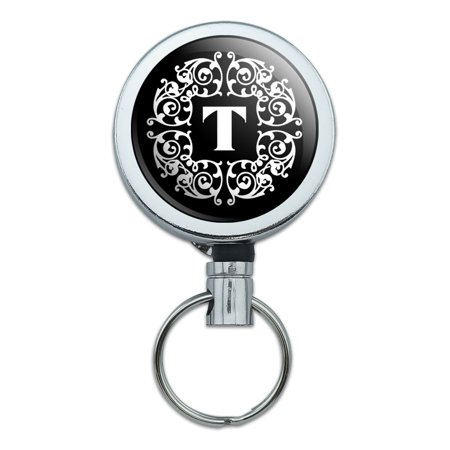 - Letter T Initial Black White Scrolls Retractable Belt Clip Badge Key Holder