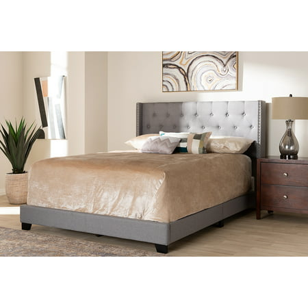 Kyoto King Bed (Baxton Studio Brady Modern and Contemporary Light Grey Fabric Upholstered King Size Bed )