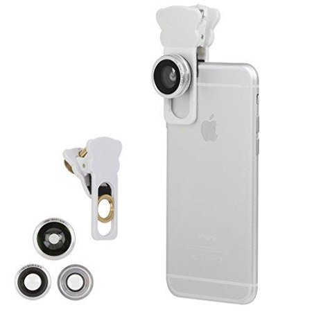new product e3cf3 f3048 Iphone Camera Lens Kit for iPhone 6S/ 6 plus & All Smartphones - 180  Fisheye Lens, Macro Lens, Wide Angle Lens - Includes a Universal Clip(White)
