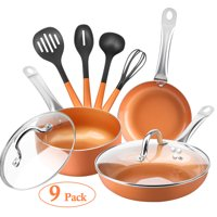 """SHINEURI Nonstick 9 Pieces Copper Frying Pan Cookware Set, 8"""" & 9.5"""" Round Fry Pans, 2.5qt Sauce Pan with Lid, Stainless Steel Handle, 4 Pcs Kitchen Utensils for Induction, Gas, Electric and Stovetops"""