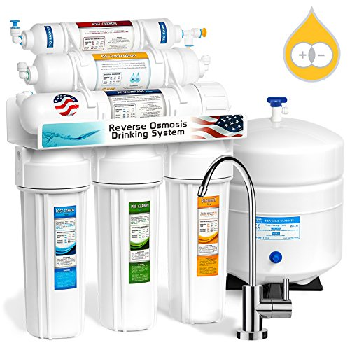 Express Water 6 Stage Deionization + Reverse Osmosis Water Filtration System 100 GPD RO Membrane DI Resin Mixed Bed Ion Exchange Filter Residential Home Under Sink Drinking Water Purification RODI10M