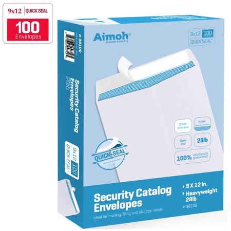 9 x 12 SELF Seal Security White Catalog Envelopes - 28lb - 100 Count - Security Tinted, Ultra Strong Quick-Seal, 9 x 12 inch (38100) ()