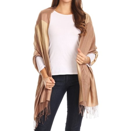 Sakkas Nicola Reversible Warm and Soft Unisex Scarf Stole Wrap Solid Color-block - Camel - One Size Regular