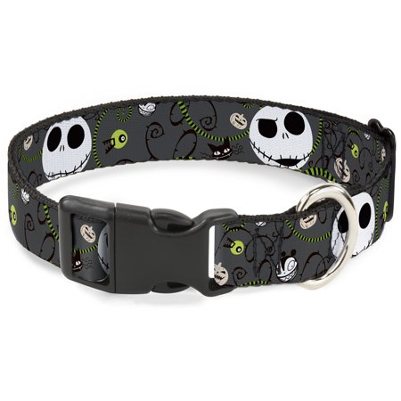 Plastic Clip Collar - NBC Jack Expressions Halloween Elements Gray - Large Pet Collar 1.0