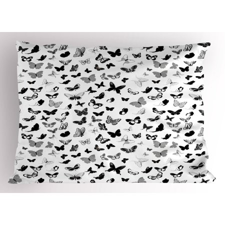 Butterfly Pillow Sham Numerous Types of Butterflies Monochrome Vintage Inspiration Flying Animals, Decorative Standard Size Printed Pillowcase, 26 X 20 Inches, Black Grey White, by Ambesonne