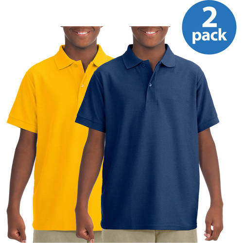 Jerzees Boy's Short Sleeve Wrinkle Resistant Performance Polo Shirt, Your Choice 2-Pack
