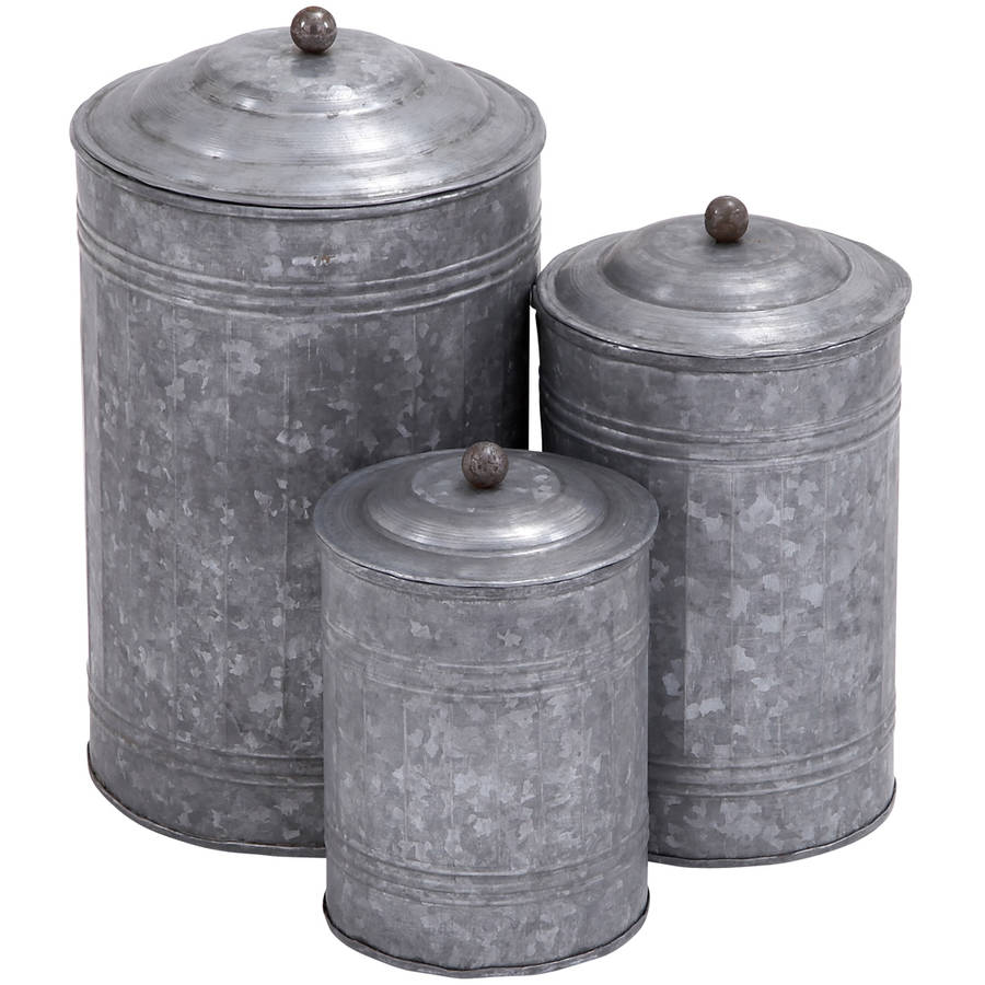 Metal Galvanized Canister, Set of 3, Multi Color
