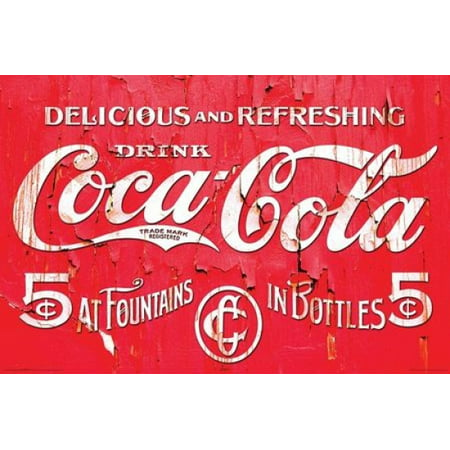 Coca Cola Retro Logo Poster Poster Print Walmart Com