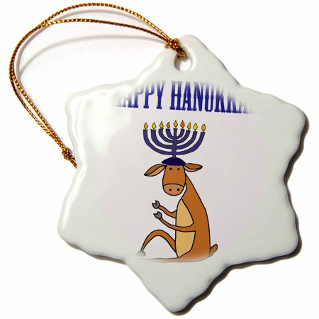 3dRose Funny Reindeer with Menorah Candles Antlers Happy Hanukkah - Snowflake Ornament, 3-inch - Hanukkah Ornaments