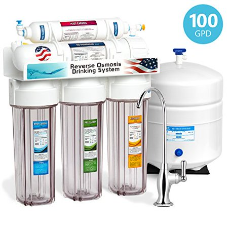 Express Water 5 Stage Under Sink Reverse Osmosis Filtration System 100 GPD RO Membrane Filter Deluxe Faucet Clear Housing Ultra Safe Residential Home Drinking Water Purification One Year (Deluxe Filtration System)